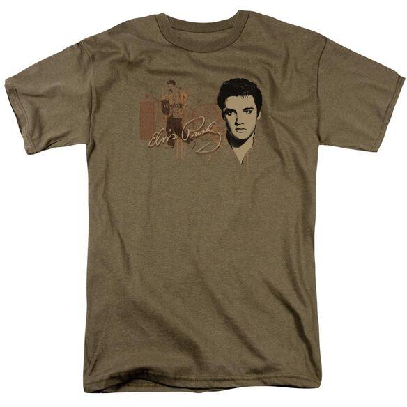 Elvis At The Gates Short Sleeve Adult Safari Green T-Shirt