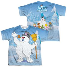 Frosty The Snowman Frosty Wave (Front Back Print) Short Sleeve Youth Poly Crew T-Shirt