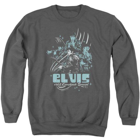 Elvis 68 Leather Adult Crewneck Sweatshirt