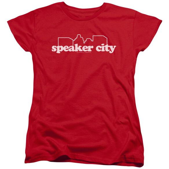 Old School Speaker City Logo Short Sleeve Womens Tee Red T-Shirt