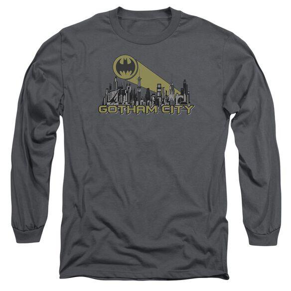 Batman Gotham Skyline Long Sleeve Adult T-Shirt