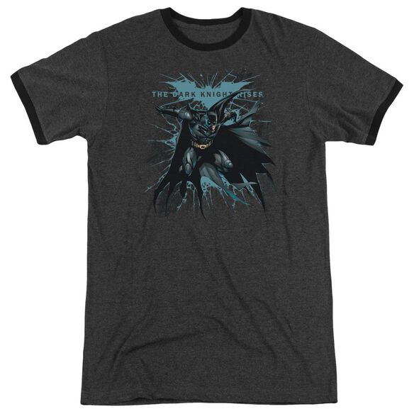 Dark Knight Rises Blue Crackle Adult Heather Ringer Charcoal