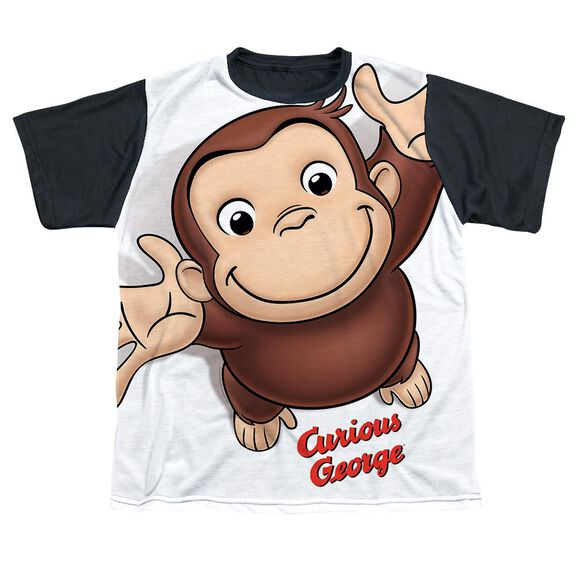 Curious George Hands In The Air Short Sleeve Youth Front Black Back T-Shirt