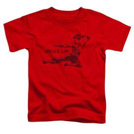 Bruce Lee Line Kick Short Sleeve Toddler Tee Red T-Shirt