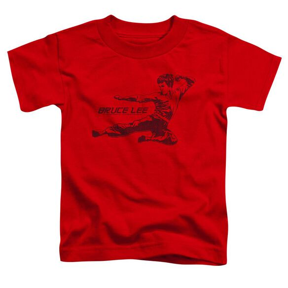 Bruce Lee Line Kick Short Sleeve Toddler Tee Red T-Shirt
