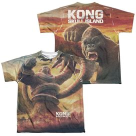 Kong Skull Island The Mighty Jungle (Front Back Print) Short Sleeve Youth Poly Crew T-Shirt