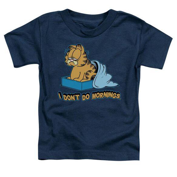 Garfield I Don't Do Mornings Short Sleeve Toddler Tee Navy Sm T-Shirt