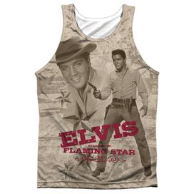 Elvis Flaming Star Adult 100% Poly Tank Top
