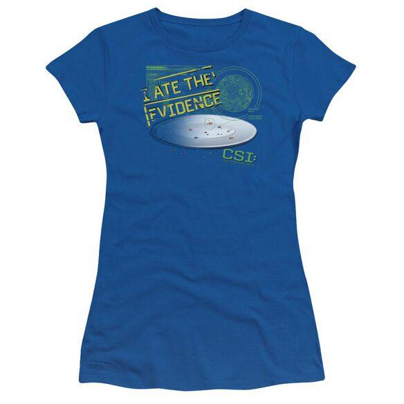 Csi I Ate The Evidence Short Sleeve Junior Sheer Royal T-Shirt