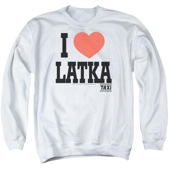 Taxi I Heart Latka - Adult Crewneck Sweatshirt - White