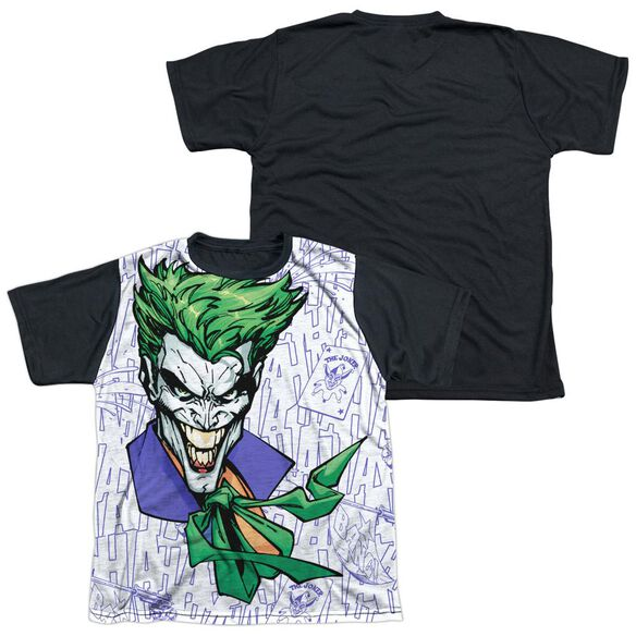 Batman Laugh Clown Laugh Short Sleeve Youth Front Black Back T-Shirt