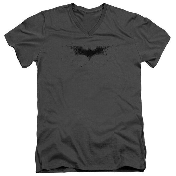 Dark Knight Bats Logo Short Sleeve Adult V Neck T-Shirt