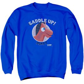 Gumby Saddle Up Adult Crewneck Sweatshirt Royal