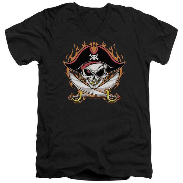 Pirate Skull Short Sleeve Adult V Neck T-Shirt