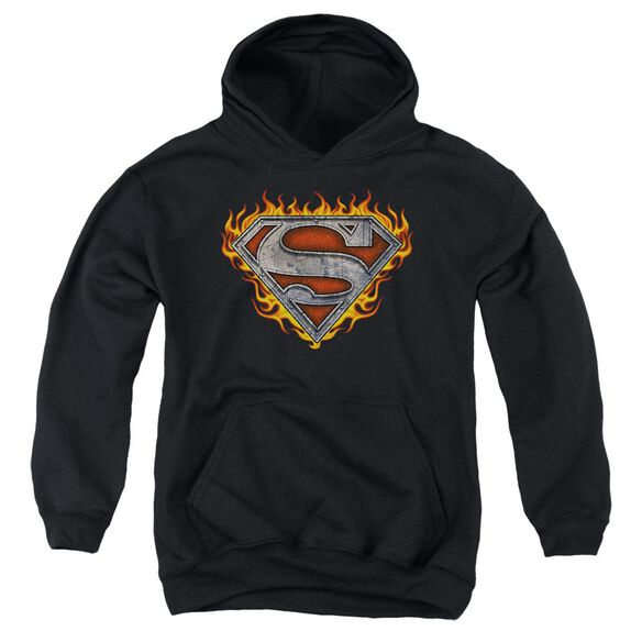 Superman Iron Fire Shield Youth Pull Over Hoodie