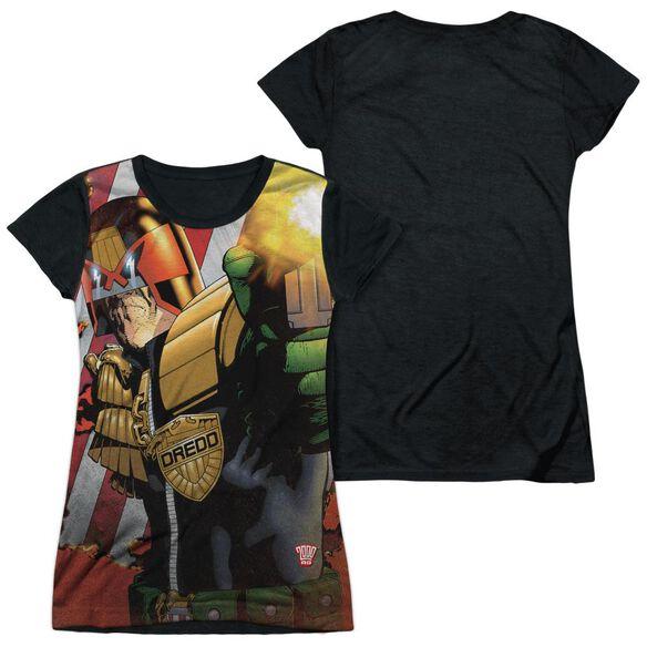 Judge Dredd Democracy Short Sleeve Junior Poly Black Back T-Shirt