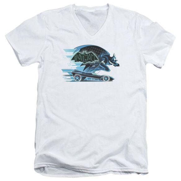 Beware The Batman With Batmobile Short Sleeve Adult V Neck T-Shirt
