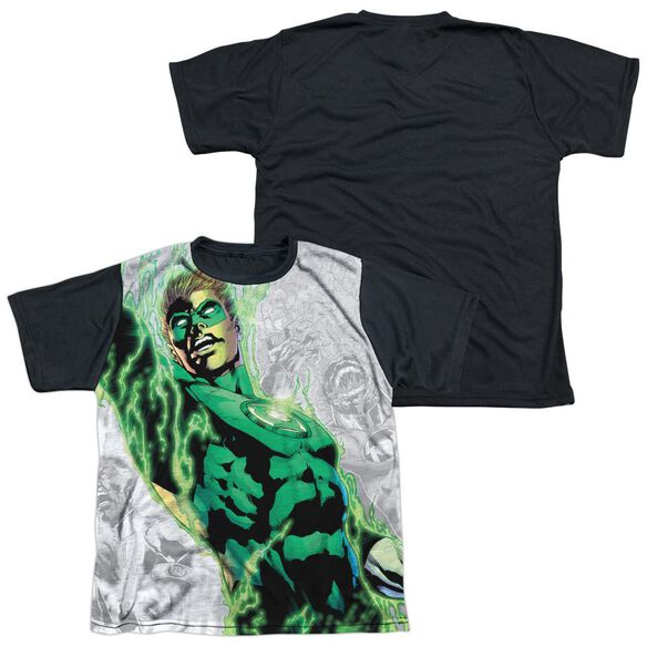 Green Lantern Light Em Up Short Sleeve Youth Front Black Back T-Shirt