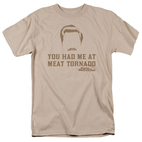Parks And Rec Meat Tornado Short Sleeve Adult Sand T-Shirt