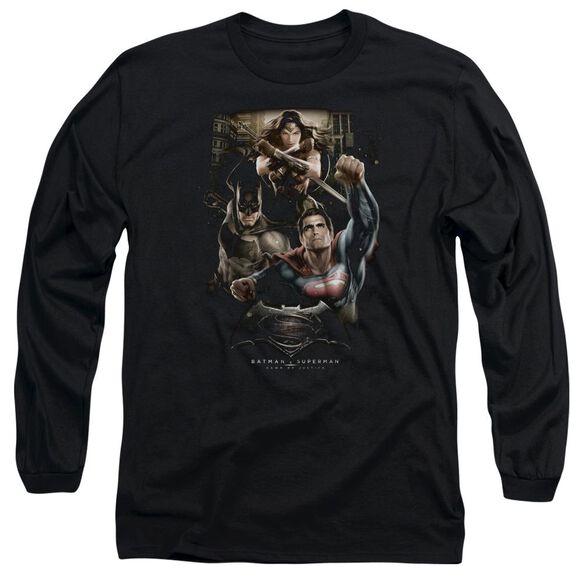Batman V Superman Three In Action Long Sleeve Adult T-Shirt