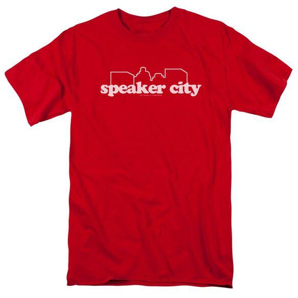 Old School Speaker City Logo Short Sleeve Adult Red T-Shirt