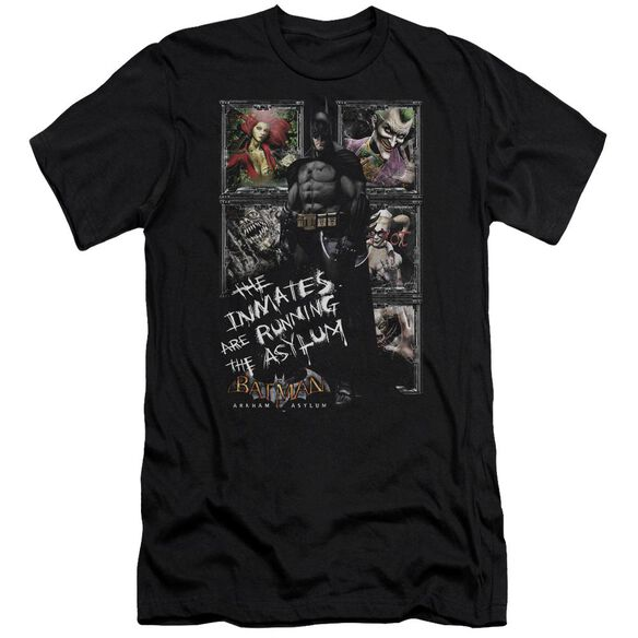 BATMAN AA RUNNING THE ASYLUM - S/S ADULT 30/1 - BLACK T-Shirt