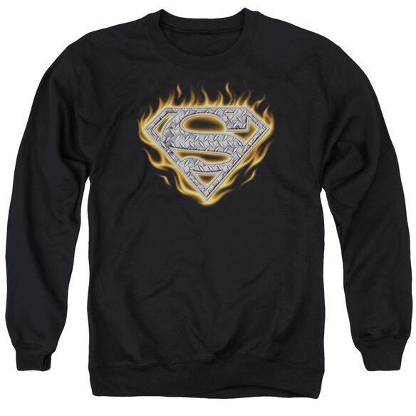 Superman Steel Fire Shield Adult Crewneck Sweatshirt