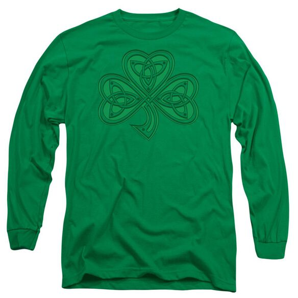 Celtic Shamrock Long Sleeve Adult Kelly T-Shirt