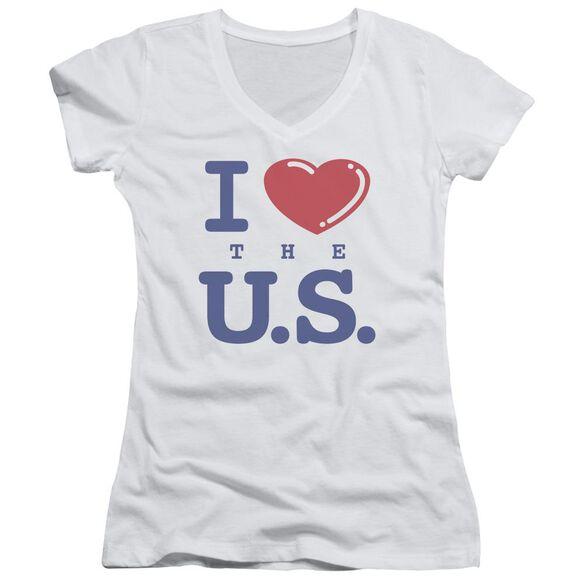 I Love The Us - Junior V-neck - White