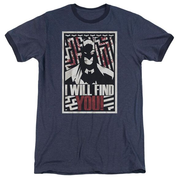 Batman I Will Fnd You Adult Heather Ringer Navy