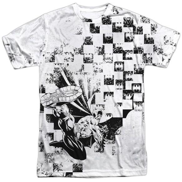 Batman Checkerboard Kick Short Sleeve Adult 100% Poly Crew T-Shirt