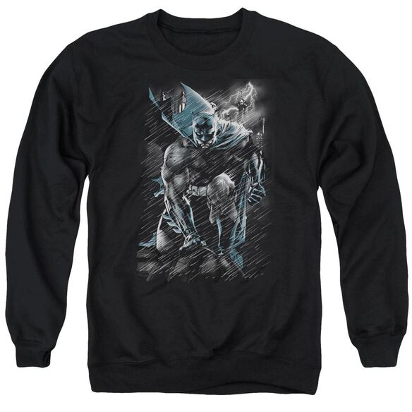 Batman In The Rain Adult Crewneck Sweatshirt