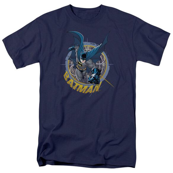 Batman In The Crosshairs Short Sleeve Adult Navy T-Shirt