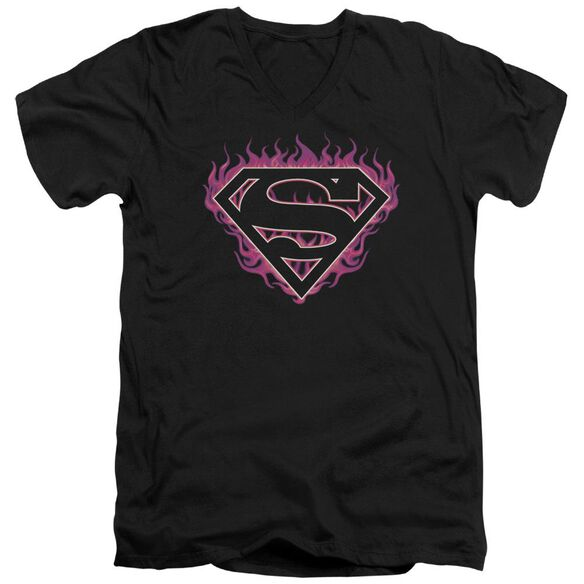 Superman Fuchsia Flames Short Sleeve Adult V Neck T-Shirt