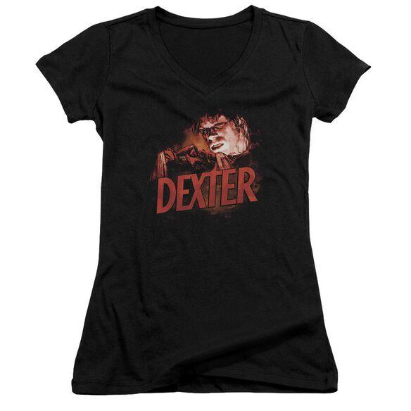 Dexter Drawing - Junior V-neck - Black