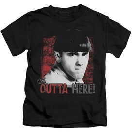 Three Stooges Get Outta Here Short Sleeve Juvenile Black T-Shirt