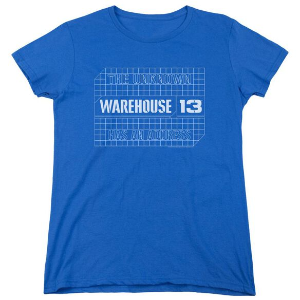 Warehouse 13 Blueprint Logo Short Sleeve Womens Tee Royal T-Shirt