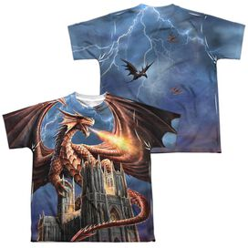 Anne Stokes Dragons Fury (Front Back Print) Short Sleeve Youth Poly Crew T-Shirt