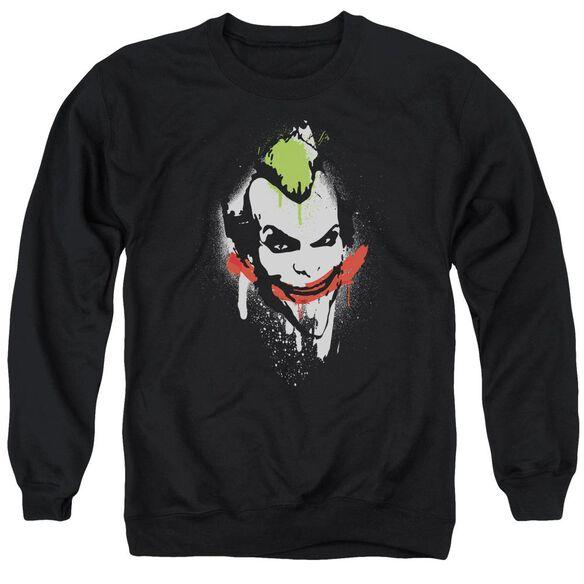 Arkham City Spraypaint Smile - Adult Crewneck Sweatshirt - Black