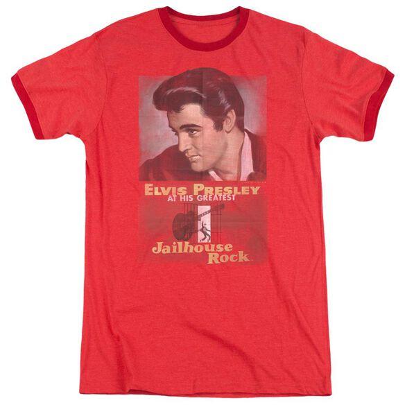 Elvis Jailhouse Rock Poster Adult Heather Ringer Red