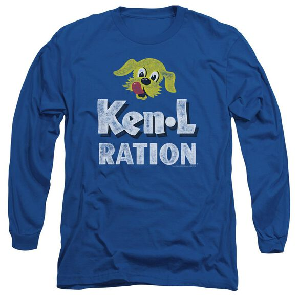Ken L Ration Distressed Logo Long Sleeve Adult Royal T-Shirt