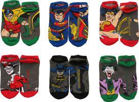 DC Comics Action Poses 6 Pair Ankle Socks Set