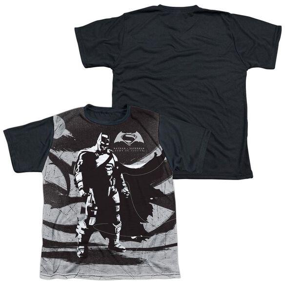 Batman V Superman Batman Contrast Short Sleeve Youth Front Black Back T-Shirt