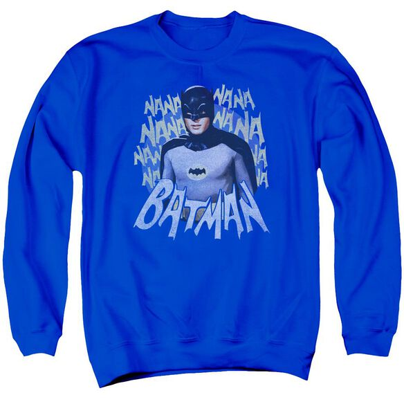 Batman Classic Tv Theme Song Adult Crewneck Sweatshirt Royal