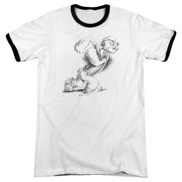 Popeye Here Comes Trouble - Adult Ringer - White/black