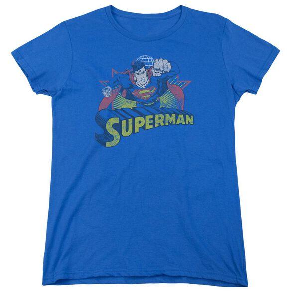 Jla Superman Rough Distress Short Sleeve Womens Tee Royal T-Shirt