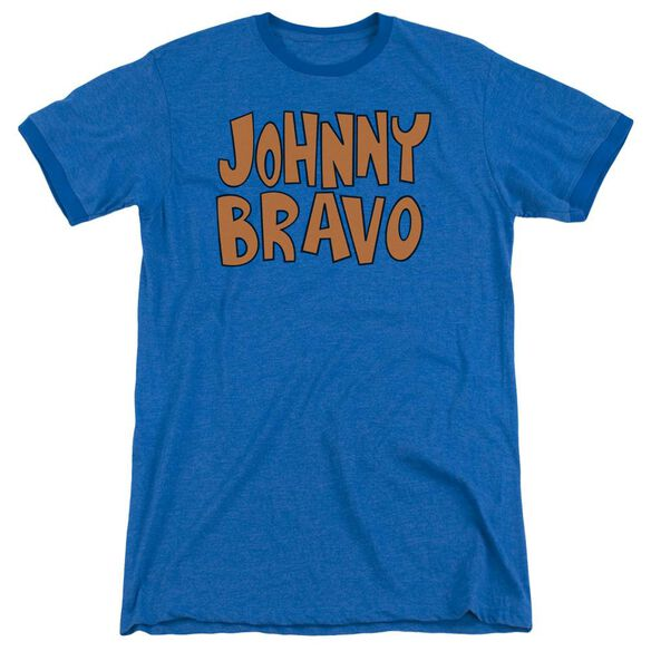Johnny Bravo Jb Logo Adult Heather Ringer Royal Blue