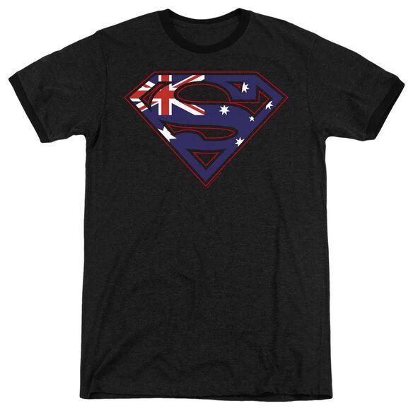 Superman Australian Shield - Adult Heather Ringer - Black