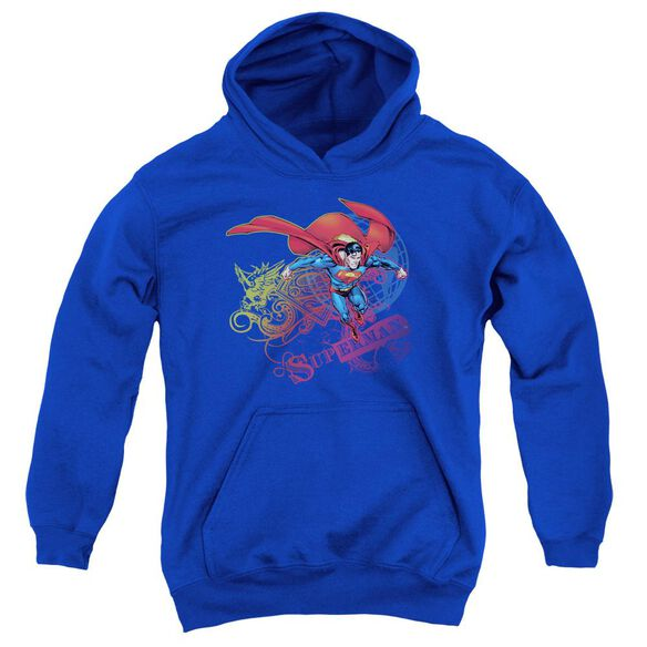 Superman Cool Word Supes Youth Pull Over Hoodie