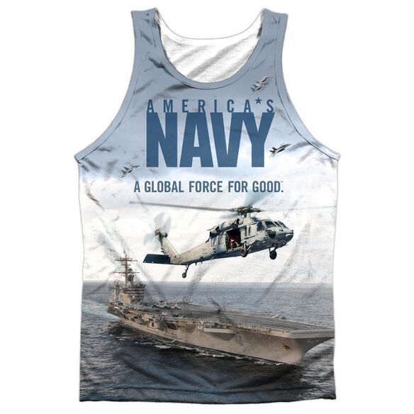 Navy Over And Under Adult 100% Poly Tank Top